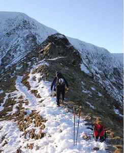 Ascending Swirral Edge in winter